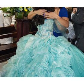 Vestidos de quinceanera color azul verde
