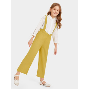 Pantalones De Niñas De Talle Alto En Abanico Con Tira Grues 99cba6c6db44