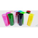 Copo Long Drink Acrilico Cores Neon E Sólidos. Cx. 100 Pçs