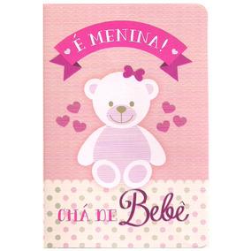 100 Convites De Chá De Bebê Menina Ursinho (ref. 255)