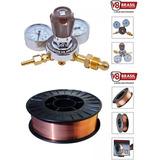 Regulador De Pressão Argônio + Arame De Solda 0,8mm 5 Kg