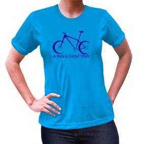 Camiseta Feminina Baby Look Az Celeste Bicicleta Azul Royal b3c19ad9497e2