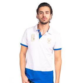 Camisa Tipo Polo Color Blanco/azul