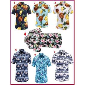 Camisas Havaiana Floral Masculina Manga Curta Fit Moda Praia
