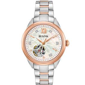 Reloj Bulova Diamond Automatic 98p170 Original Para Dama