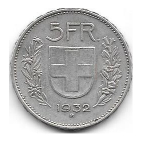 Moneda De Suiza 5 Francos De Plata Año 1932 Muy Buena