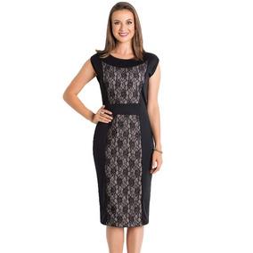Vestido Feminino Moda Evangélica Midi Com Recorte Em Renda