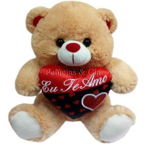 11478d2fe9 Urso De Pelúcia Com Coração Bicolor - Eu Te Amo