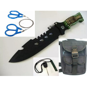 Kit Supervivencia Cuchillo Pedernal Sierra Piernera 2 Mantas