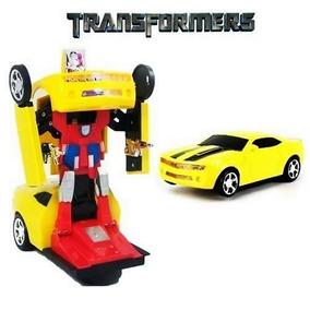 Kit 2 Carro Robô Transformers Carinho Camaro Amarelo Brinca