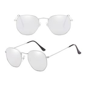 Oculos Cinza Claro Hexagonal Outras Marcas - Óculos De Sol no ... 60706020a3