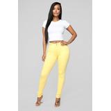 Pantalon Jeans Tiro Alto De Mujer Color Amarillo 08e044bfa567