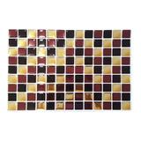 Pastilhas Adesivas Mosaico Marrom X Dourado - Fundo Branco