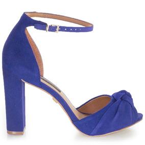 Sandália Feminina Jorge Bischoff Em Suede Azul