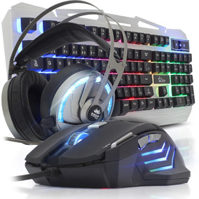 Kit Teclado Mouse Gamer Iluminado Fone Headset 7.1 Surround