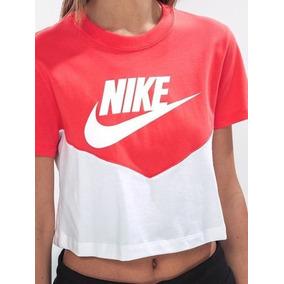 Playera Nike Heritage Blanco Coral Corta Casual Dama Originl