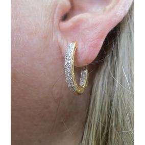4272b8032e9 Incrível Argola Com Diamantes Dos Dois Lados Ouro Amarelo