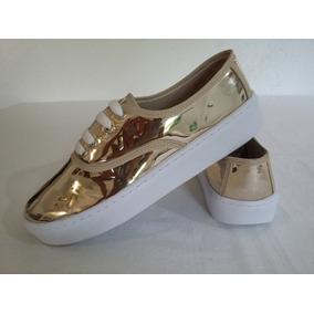 Tenis Sneaker Oro Dorado Metálico Espejo Moda Para Mujer