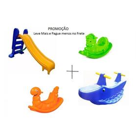 Escorregador 3 Degraus + Gangorra Cavalinho + Nhoca + Jacaré