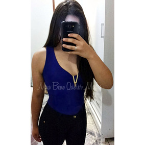 Blusa Body Feminino Tirinhas Suplex Collant Bojo Decote