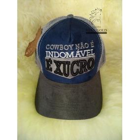 Boné Sertanejo Azul Frase Cowboy Não É Indomável É Xucro · R  31 90 a4239cfe26d