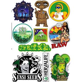 Adesivo Diversos Hemp Skate Surf Reggae Cannabis = Cartela