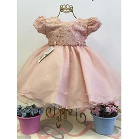 Vestido Bebê Rose Nude + Faixa