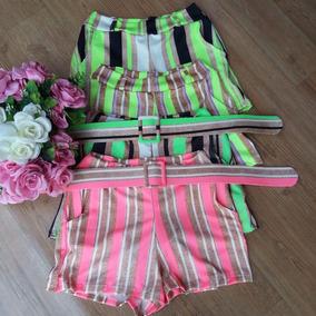Shorts Feminino Com Cinto Retro