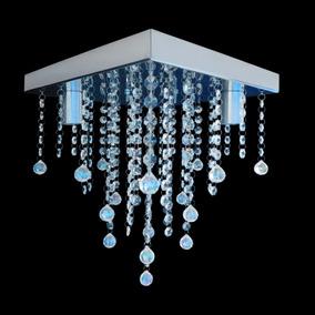 Lustre Cristal Acrílico Base Inox Espelhada Grande 30x30cm