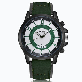 Relógio Soki Esporte Militar Pulseira Couro Mascu Lançamento