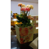 Maceta De Madera Vintage Con Flor Artificial