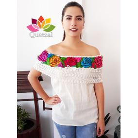 Blusa De Dama Mexicana Campesina Bordada Artesanal Típica Be