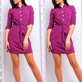 Mini Vestidos Con Cuello En Vuelto Color Purpura Muy Sexy!!