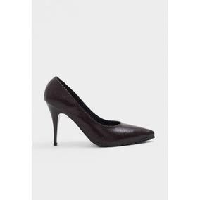 Zapatos Stilletos De Mujer Lazaro Dallas Cuero Malbec