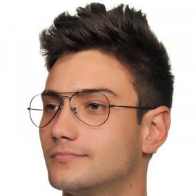 Óculos Aviador Com Lentes Transparentes Sem Grau Preto - Óculos no ... af487298ce