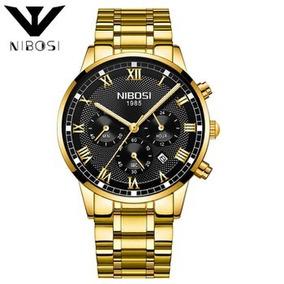 639387f57e4 Relogio Qnitex Em Aço Inox Dourado Lançamento - Relógio Masculino no ...