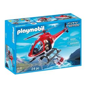 Helicóptero De Combate A Incêndio Bombeiros Playmobil 5617