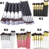 Set 10 Brochas Maquillaje Profesional Kabuki Unicornio Oval