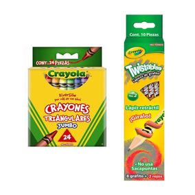 Kit Escolar 8 Lapices + 2 Rojos + 24 Crayolas Triangulares