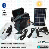 Kit Solar Portátil+3 Focos+radio Fm, Am,mp3+ Bluetooth+panel