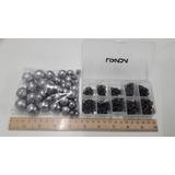 Kit Anzol Aço Carbono 600 Unid. + Caixa + 1kg Chumbadas