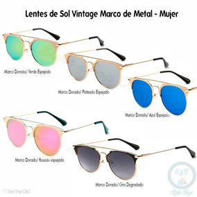 Lentes Vintage Marco De Metal De Mujer   Estuche Y Paño 28c12ed940f0
