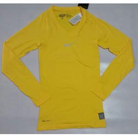 Camisa Nike Manga Longa Pro Combat Termica Amarela d85907ecb1bb3