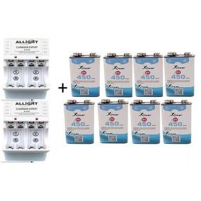 8 Baterias 9v 450 Mah Carregador 4 Pilhas Aa 4 Pilhas Aaa