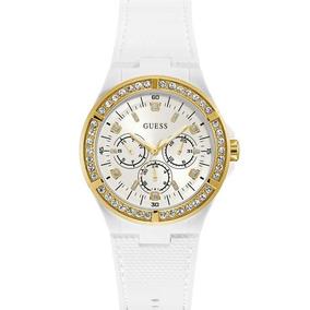 50289d12c89 Relógio Guess Branco Dourado Strass Original 92688lpgsdu2
