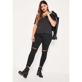 Blusa Feminina Plus Size Decote V Basica Casual Viscolycra