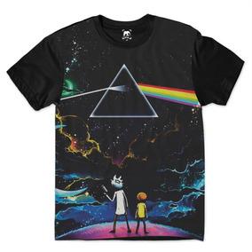Camiseta Rick And Morty Triângulo Pink Floyd Galáxia Yd29