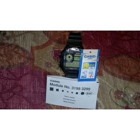 Reloj Casio Ae 1200 Caballero Negro Frente Ambar Illuminator