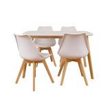 Combo Mesa Eames Cocina Norway Recta 120x80 + 4 Sillas Tulip