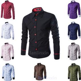 Llx Camisa Casual Grid Shoulder Slimfit Shirt Moda Al Mejorp